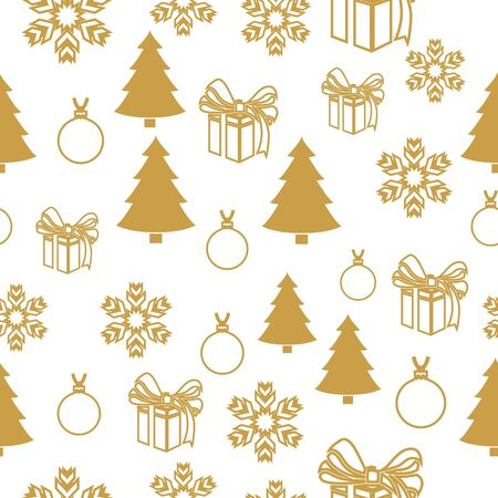 Merry Christmas Gold elements on white background. Seamless graphic pattern made with elements of zentangl and doodle. Wrapping paper Vetores