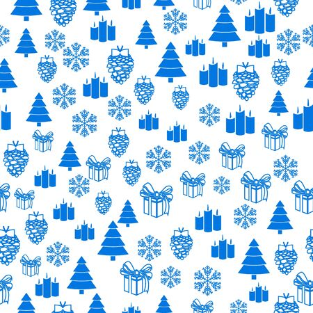 Merry Christmas Blue elements on white background. Seamless graphic pattern made with elements of zentangl and doodle. Wrapping paper illustration Ilustração