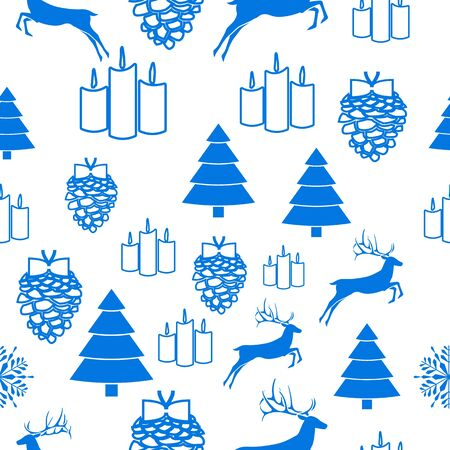 Merry Christmas Blue elements on white background. Seamless graphic pattern made with elements of zentangl and doodle. Wrapping paper