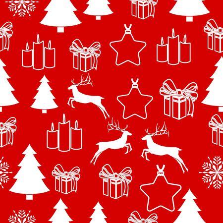 Christmas white snowflake on abstract red bakcground vector illustration Wrapping paper.