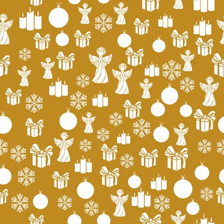 Elegant Christmas Background with Shining Gold Snowflakes. Vector illustration. Seamless graphic pattern Illustration