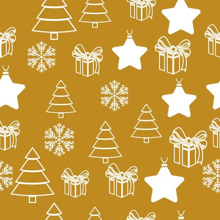 Elegant Christmas Background with Shining Gold Snowflakes. Vector illustration. Seamless graphic pattern 일러스트