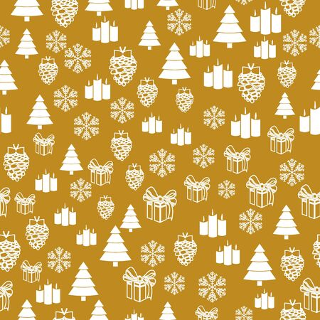 Elegant Christmas Background with Shining Gold Snowflakes. Vector illustration. Seamless graphic pattern 免版税图像 - 128158875