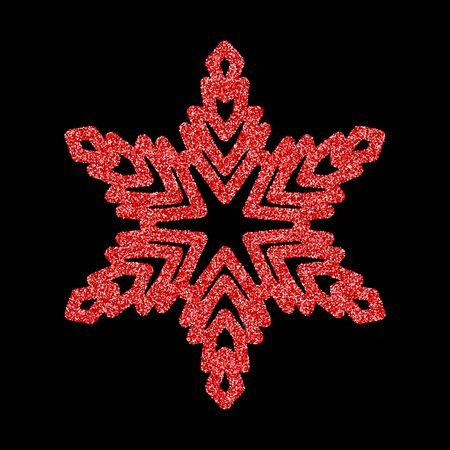 Flocons de neige et neige rouges brillants. Illustration de carte de joyeux Noël sur fond noir. Élément scintillant avec motif pailleté
