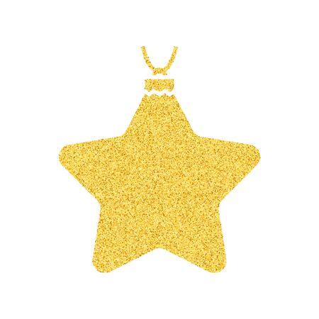 Fiocchi di neve e neve dorati brillanti. Merry Christmas card illustrazione su sfondo bianco. Elemento scintillante con motivo glitter