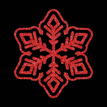 Shining red snowflakes and snow. Merry Christmas card illustration on black background. Sparkling element with glitter pattern 向量圖像