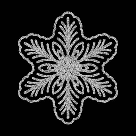 Shining silver snowflakes and snow. Merry Christmas card illustration on black background. Sparkling element with glitter pattern