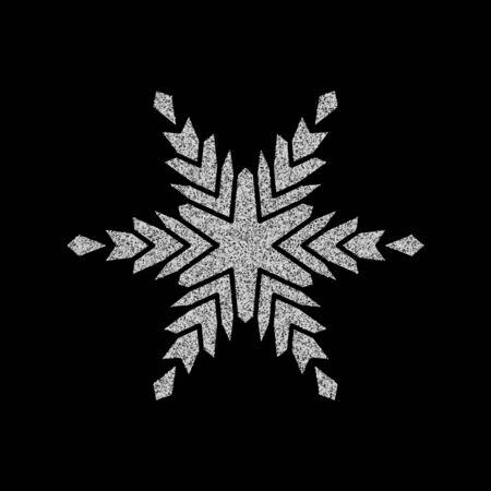 Copos de nieve y nieve plateados brillantes. Ilustración de tarjeta de feliz Navidad sobre fondo negro. Elemento brillante con patrón de brillo.