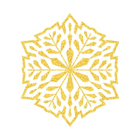 Shining golden snowflakes and snow. Merry Christmas card illustration on white background. Sparkling element with glitter pattern