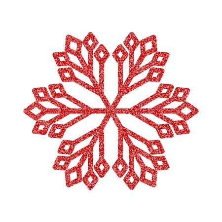 Shining red snowflakes and snow. Merry Christmas card illustration on white background. Sparkling element with glitter pattern 向量圖像