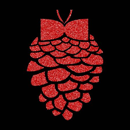 Shining red and snow. Merry Christmas card illustration on black background. Sparkling element with glitter pattern