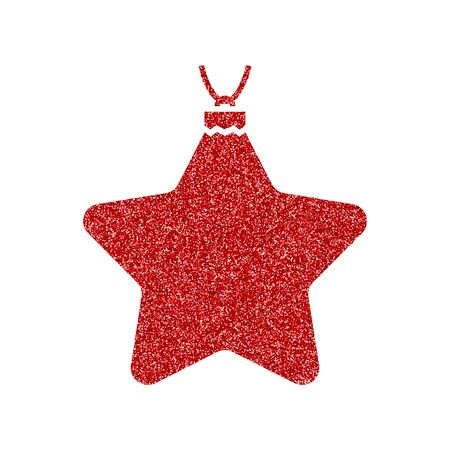 Shining red and snow. Merry Christmas card illustration on white background. Sparkling element with glitter pattern 向量圖像