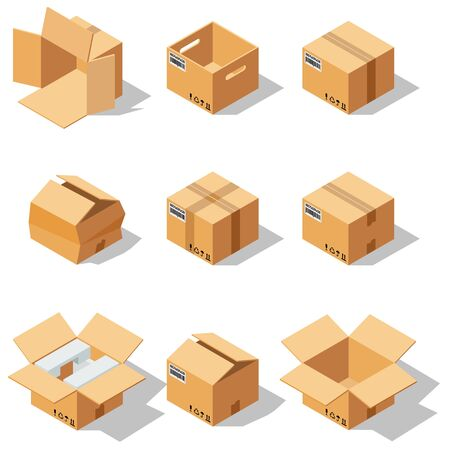 Different box vector isometric icons isolated move service or gift container packaging illustration 矢量图像