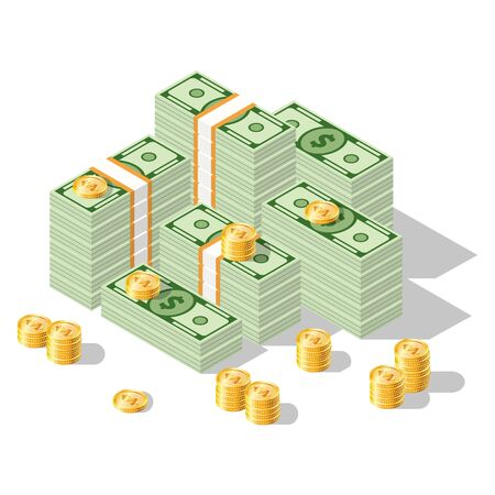 Set of isometric money isolated on white background. Golden coins and paper dollars illustration. A lot of cash
