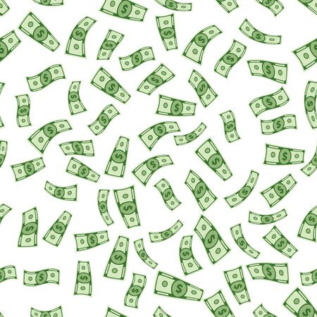 Set of seamless money isolated on white background. paper dollars illustration. A lot of cash