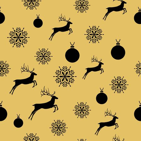 Golden New Year seamless pattern for gift wrapping or cards for the holidays. Easy style in one line, hipster style.