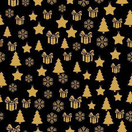 Golden New Year seamless pattern for gift wrapping or cards for the holidays. Easy style in one line, hipster style