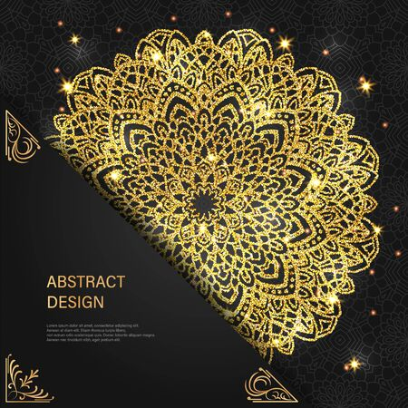 Abstract luxury glitter mandala on dark background with shine light. Ornament elegant invitation for wedding card. Gift invite with royal motif. Backdrop cover is illustration vector design 矢量图像