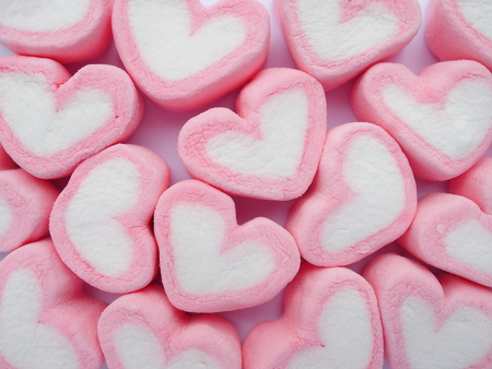 forme: pink heart shape marshmallow