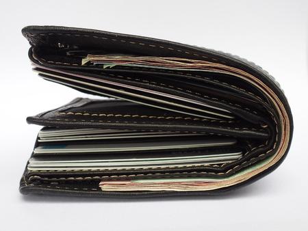 Plus utiliser portefeuille noir sur fond blanc Banque d'images - 77595034