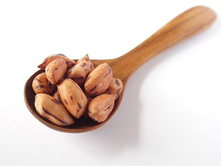 tiger bean in round teakwood spoon on white background Stock Photo