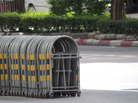 manage transportation: u-shape expandable traffic barrier or temporary traffic control Stock Photo