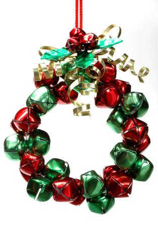 Christmas wreath ornament made of jingle bells