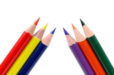 Colored pencils showing primary and secondary colors isolated on white