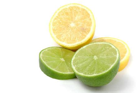 Lemon Lime Isolated on White Stock Photo