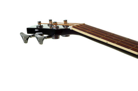4 String Bass Guitar Neck Isolated on White Stock Photo