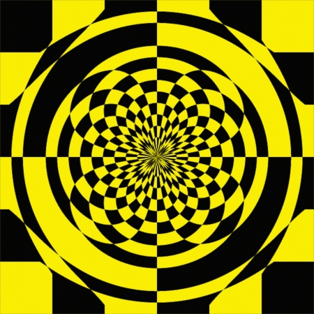 Black & Yellow Optical Checkerboard Vector