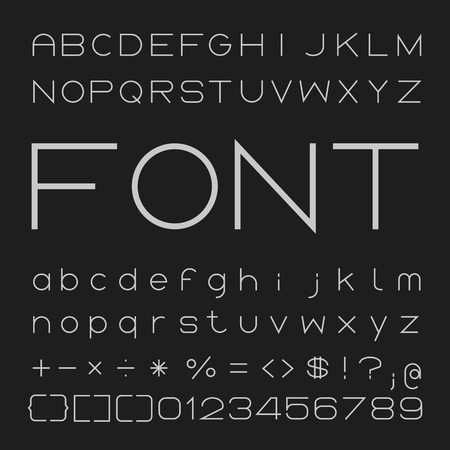 font design: Thin Font Design, Alphabet and Numbers Vector Illustration