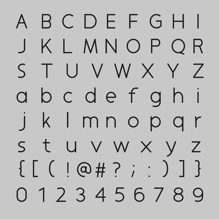 vowel: Font Design, letters and numbers vector