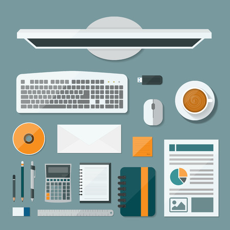 Top view computer of desk background, Flat vector design illustration of modern business office and workspace