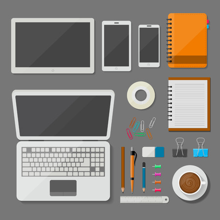 pencils  clutter: Top view laptop, tablet, smartphone, and workplace with office items and business elements vector design on desk concept