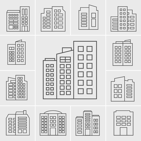 residences: Line Building Icons illustration set