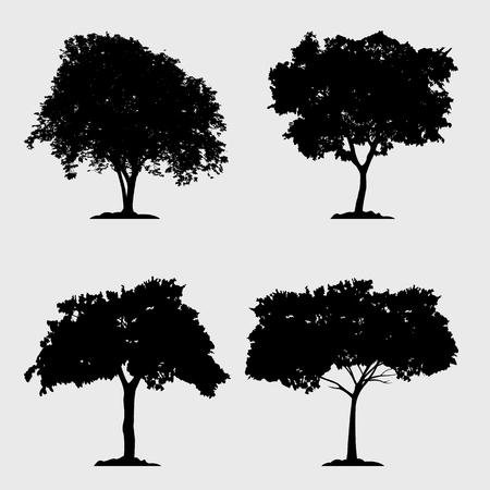 Colección de vectores de árbol de silueta sobre fondo gris