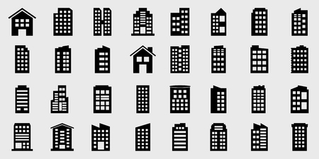 Icons Building Vector illustration set