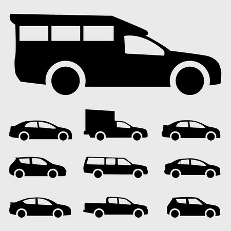 black cars icon vector set on the gray background