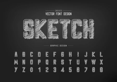 Chalk font and round alphabet vector, Hand draw typeface and letter number design, Graphic text on background