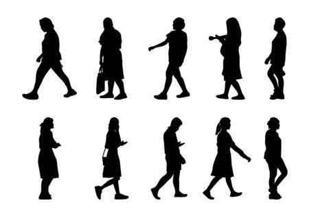 Silhouettes d'hommes et de femmes sur fond blanc, silhouettes de personnes de collection marchant, groupe de forme isolé fille et garçon, illustration humaine différente de l'ombre