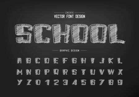 Chalk cartoon font and sketch alphabet vector, Hand draw bold typeface and number design, Graphic text on background Standard-Bild - 133336010