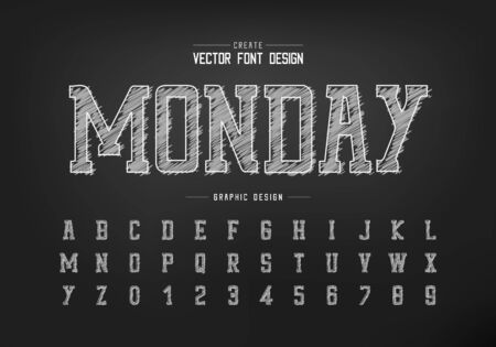 Chalk font and sketch alphabet vector, Hand draw typeface and number design, Graphic text on background Standard-Bild - 133336011