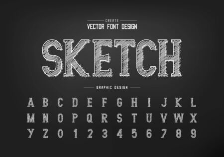 Chalk font and sketch alphabet vector, Hand draw writing style typeface letter and number design, graphic text on background Standard-Bild - 133336012