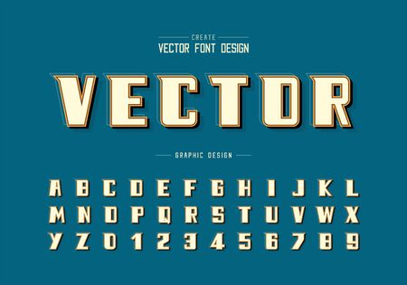 Shadow and line Bold Font vector, Alphabet modern Typeface and letter number design, Graphic text on background Vecteurs
