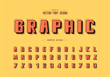 Ombre et ligne Bold Font vecteur, police de caractères alphabet et conception de nombres, texte graphique en arrière-plan