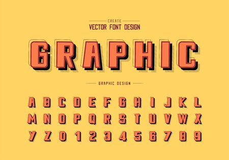 Shadow and line Bold Font vector, Alphabet typeface and number design, Graphic text on background