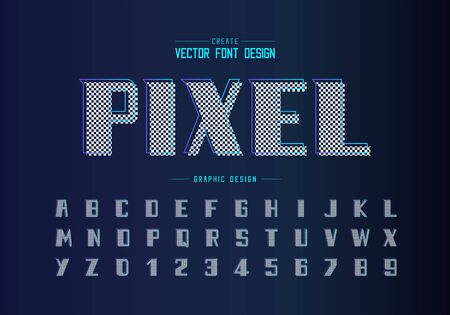 Pixel bold font and alphabet vector, Modern Typeface and letter number design, Graphic text on background