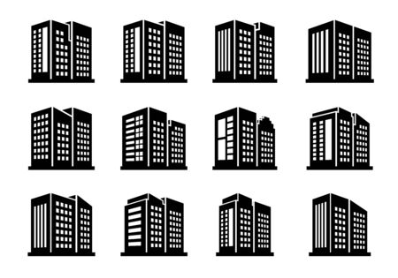 Perspective icons buildings and vector company set on white background, Black office and bank collection, silhouette edifice and residential illustration