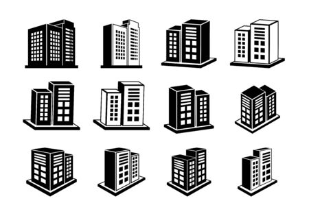 Company icons set, 3D buildings vector collection on white background, Perspective modern construction and edifice illustration